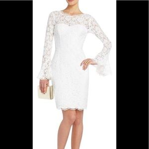 NWOT bcbg bridal holiday white lace salina dress 0